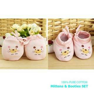 Baby Bear Mittens and Booties Set - PINK
