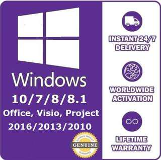 Windows 10/8/7 Microsoft Office/Visio/Project 2016/2013/2010 Genuine Product Key Online Activation