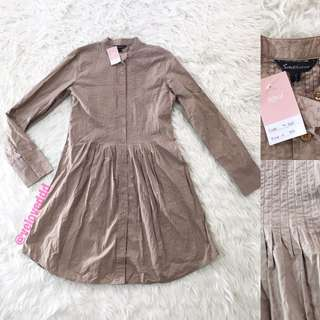 VL6160 Southaven choco button front sleeve dress