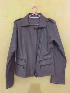 Brown Leather Jacket (jaket kulih coklat)