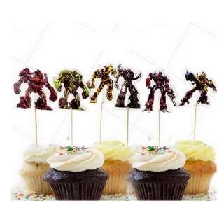 12 pcs Transformers Robot Cupcake Topper Cake Toppers Birthday Party Decoration Baking Picks Optimus Prime