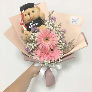 Gerberas with Baby Breath add on Graduation Bear