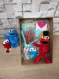 Baby breath with elmo and cookie monster gift set