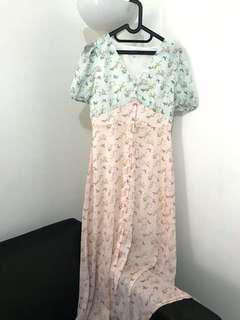 Pomelo Summer Maxi Two Tone Dress