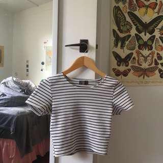 White & Black Striped Crop Top