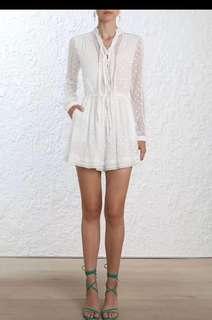 BNWT Zimmermann Silk White Lace Detailed Romper