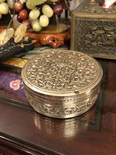 Vintage silver plated repousse round container