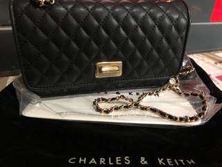 Charles & Keith Gold Chain crossbody/clutch