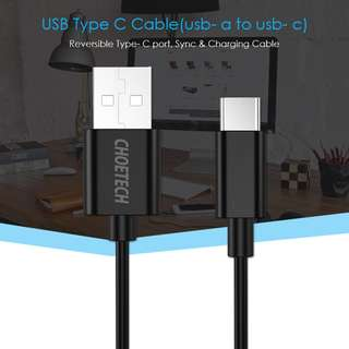 Choetech USB 2.0 to Type C cable (2 meter) USB Type C 線