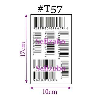 #T57 Fake Temporary Body Arms Legs Tattoo Stickers Washable Wash Off Print Sellzabo Patterns Designs Tatoo Tatto Tattoo Accessories Black Colour Stripes Lines Bar Codes Barcodes