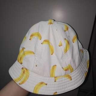 white banana bucket hat