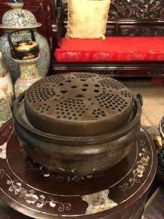 Antique brass Chinese hand warmer