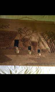 Antique Hand Made Red Indian Village Tapestry