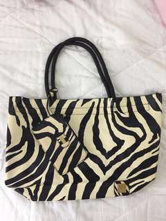 CMG zebra print neverfull bag with free pouch