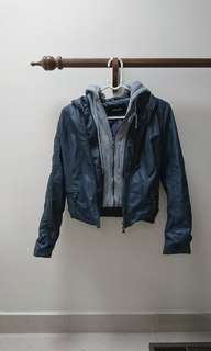 PU leather grey blue jacket with detachable hoodie