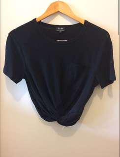 Bardot black cropped top