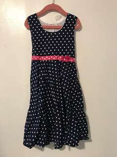Navy Polka Dress for Girls