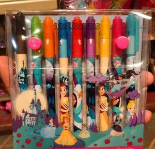 香港迪士尼灰姑娘Belle茉莉公主卡通兒童顏色筆套装