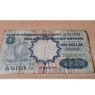 $1 Malaya and British Borneo Year 1959 - very rare