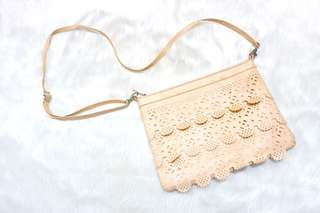Peach Sling Bag with details