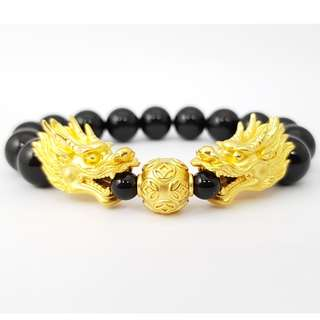 999 Gold Double Dragon With Black Beads - L 10mm