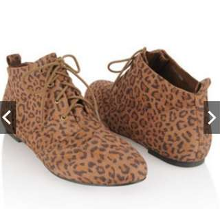 Forever 21 Wingtip Leopard Ankle Boots