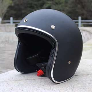 Matte Black with Silver Lining Motorcycle Helmet Open Face Three Button Snap Retro Vintage Vespa Scooter Cafe Racer Motorbike Leather Gloss Old School