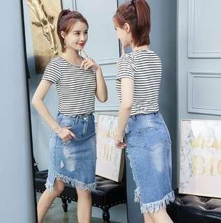 81808 #破洞不規則流蘇牛仔半身裙   尺码:2XL XL  L M S  颜色:藍色