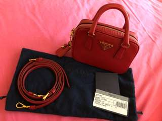 Prada Saffiano Lux Fuoco (Red) Mini Bag