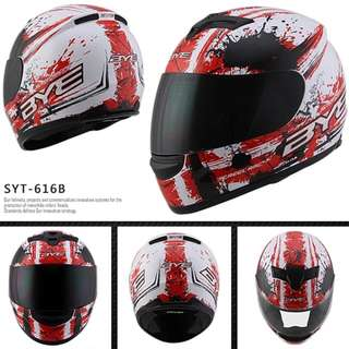 White with Red Designs Full Face Motorcycle Helmet Bike