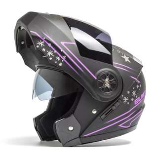 Matte Black with Purple Designs Full Face Flip Up Motorcycle Bike Modular Helmet with Double Inner Lens