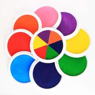 無毒可水洗兒童手指手掌畫印臺一組(內含八個單色+1個六色彩紅)