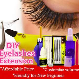 🚚 DIY Eyelashes Extension Kit For Beginner Customise Natural Doll Look Affordable Price Easy Setting False Eyelashes
