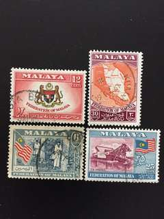 Malaya 1957 General Issue Set 4V Used SG1-4 (0474)