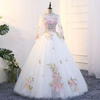 Pre order Muslimah Long Sleeve white gold Wedding Bridal Ball Prom Dress Gown  RBMWD0179