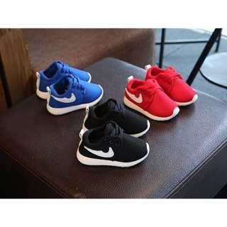 Kids  Shoes Breathable Sports Fashion Kids girl Boy Sneakers ( 24 Black,25 Red)