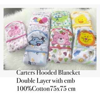 Baby blancket double layer with hood  75cm x 75cm 100% Cotton