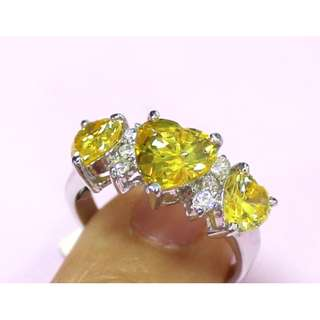 S925 silver ring with Cubic Zirconia 純銀仿黃鑽戒指