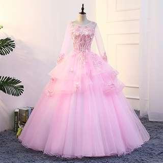 Pre order Muslimah Long Sleeve pink Wedding Bridal Ball Prom Dress Gown  RBMWD0180