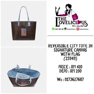 REVERSIBLE CITY TOTE IN SIGNATURE CANVAS WITH FLAG COACH F25949