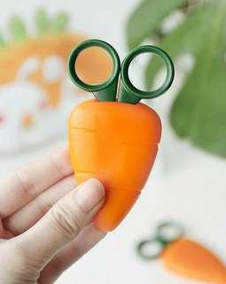 可愛紅蘿蔔造型安全剪刀 帶磁石可貼在冰箱 兒童手工剪刀