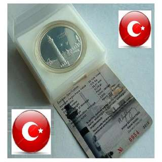 ★ TURKEY YTL 50 Lira - 2010 LIGHTHOUSE. 1 Troy Oz+ (999) Fine Silver Proof Coin