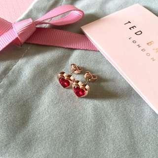 (NEW) Ted Baker Red Swarovski Crystal Heart Earring