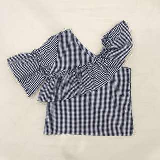 Blue and While Checkered Assymetrical Blouse Top