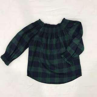 Blue and Green Checkered Off Shoulder Blouse Top