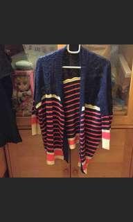 深藍色間條針織外套