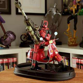 Deadpool on vespa scooter gentle giant statue not sideshow