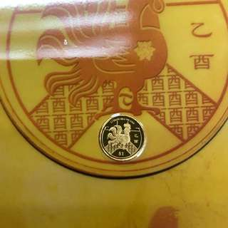 Rooster $1 Gold coin
