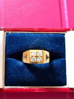 916 gold 4 diamonds men's Ring for sale