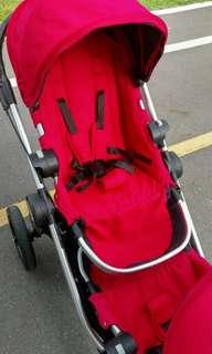 🚚 近全新Baby jogger City Select雙人推車 銀管 紅色